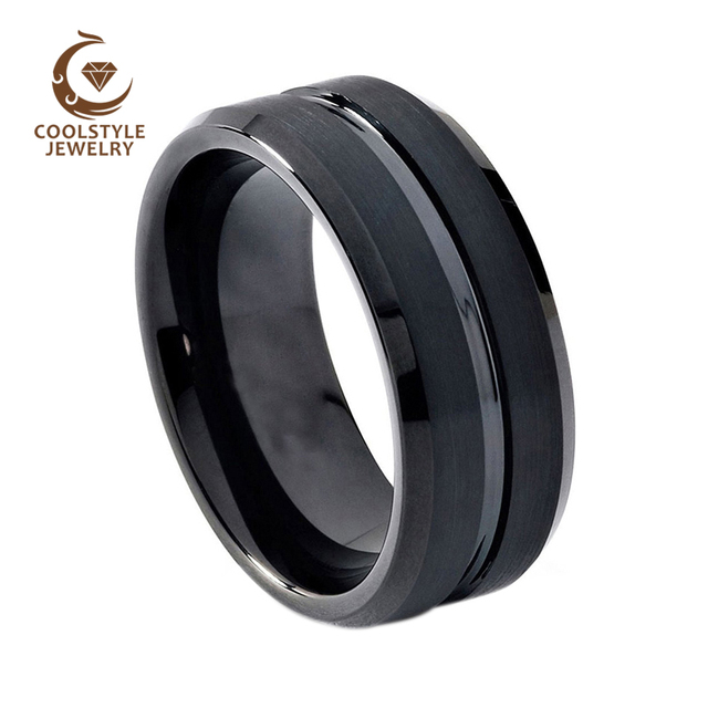 6cf5c86dfc86 8mm Men Women Black Tungsten Carbide Wedding Band Ring Matte Finish Grooved  Center Comfort Fit
