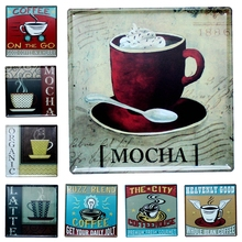 Coffee House Tin Signs Metal Painting Wall Bar Cofe Home Art Decor Living Room Cuadros  sticker 30X30CM DK-6