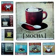 Coffee House Tin Signs Metal Painting Wall Bar Cofe Home Art Decor Living Room Cuadros  sticker 30X30CM DK-6