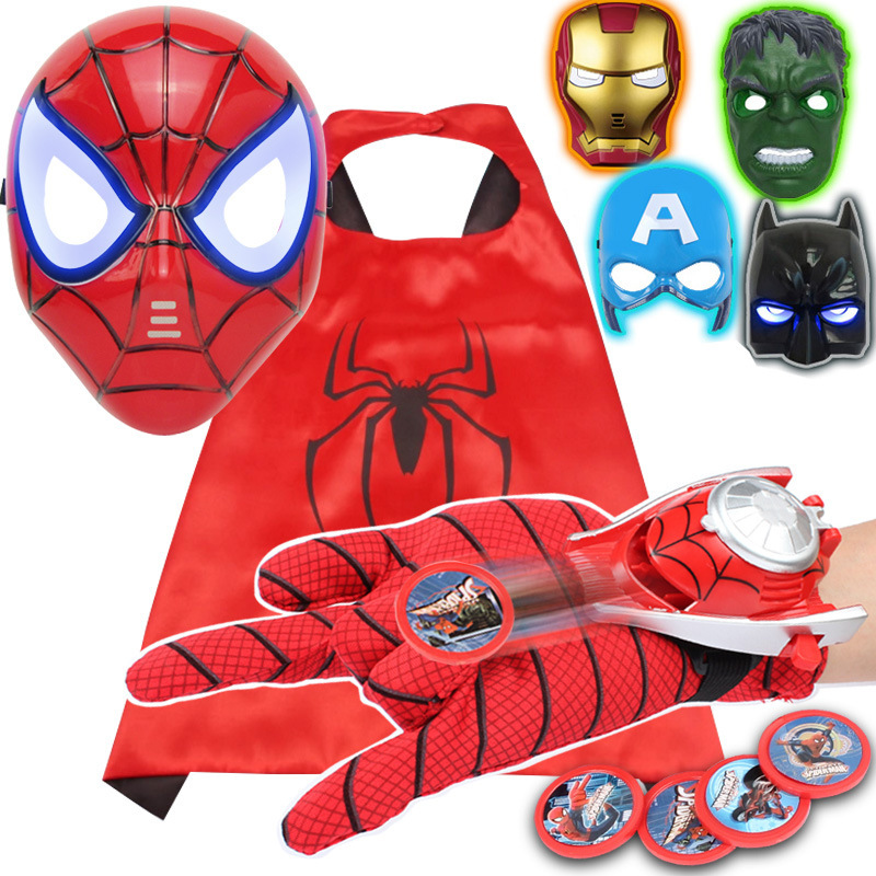 Marvel Spiderman Figures Toy The Avengers Iron Man Captain America Spiderman Mask Hulk Glove Cloak Cosplay Halloween