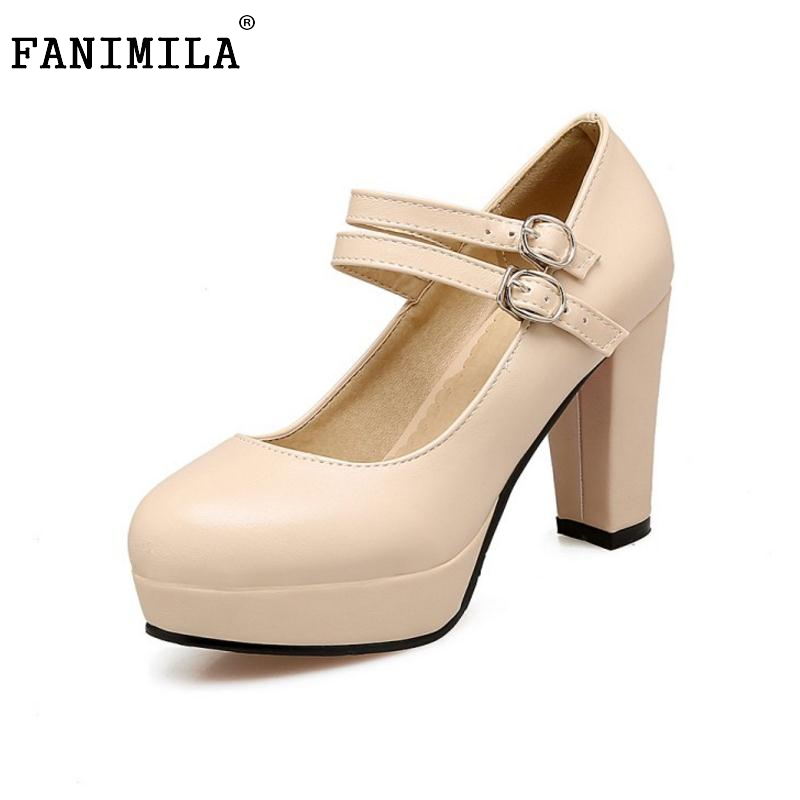 New Fashion Women Thick Heel Shoes Woman Round Toe Platform High Heel Pumps Woman Buckle Wrap OL Heels Shoes Footwear Size 34-43 taoffen size 32 43 4 color women high heels shoes round toe thick heel pumps fashion platform bowknot party wedding footwear