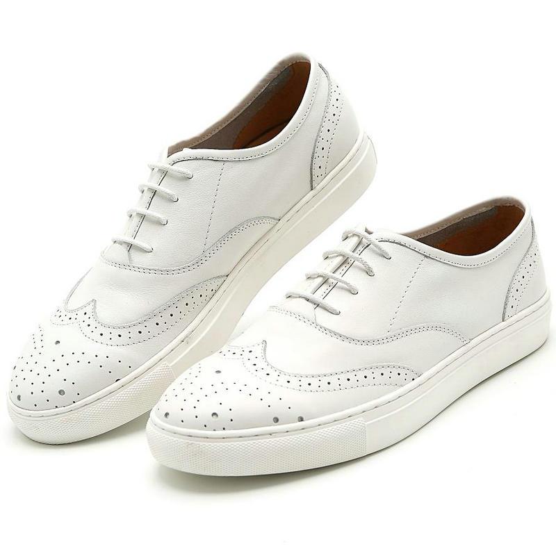 Casuais Homem Grain Sapatos Couro Boi Branco Artesanal Sapato Marca Masculino Oxfords Original Mocassim White up Lace Completa Esculpida Oxford fqx6qXzwF8