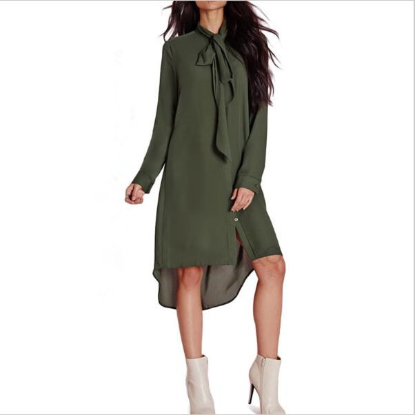 2018 New spring fashion Casual Loose Women Bow Tie Shirts Dress  Female Long Sleeve Solid Color  Dresses USA Size