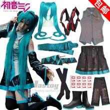 Anime Cosplay Hatsune Miku Hatsune Cos Fiesta de Halloween Completo set7in1 (Top + Falda + Correa + tie + guardamanos + calcetines + tarjeta de pelo)