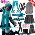 Anime Hatsune Miku Cosplay Hatsune Cos Halloween Party Full set7in1(Top+Skirts+Belt + tie + handguard + socks + hair card)