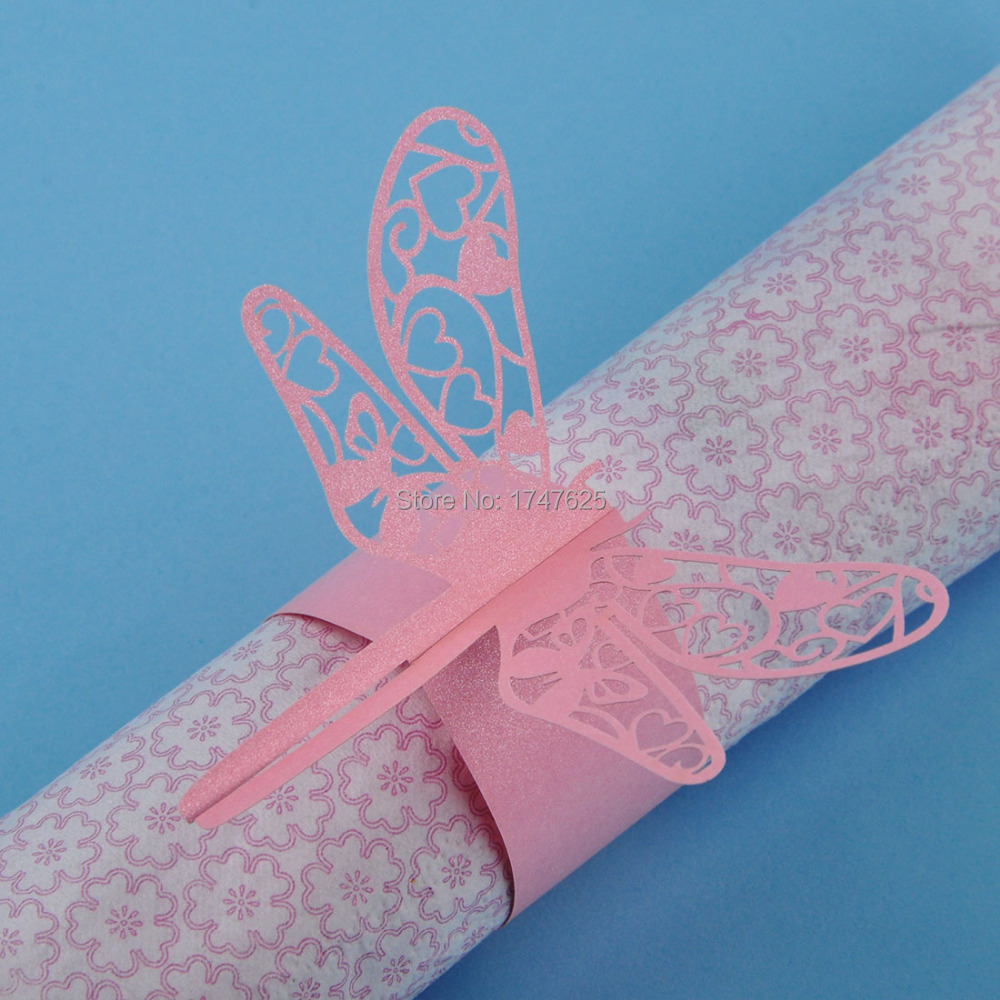 48pcs of Pink Dragonfly Paper Napkin Ring/Wrap Weddings Party Home ...