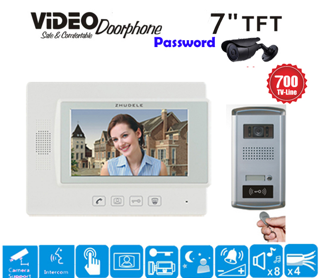 ZHUDELE 7 Display Color Video Door Phone Touch Button Doorbell Intercom Support CCTV Cam ...