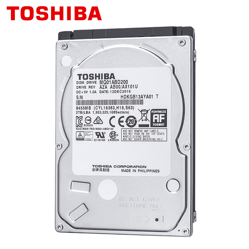 TOSHIBA 2TB Laptop Notebook Hard Drive Disk HDD HD 2000GB 2000G 2 5 9 5mm Height