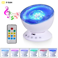 Night Light Ocean Wave Starry Sky Projector With Built In Mini Music Player USB LED Light