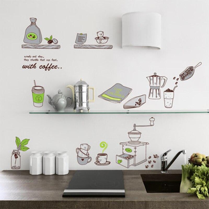 Cartoon Kitchen Supplies Romantic Western Restaurant Tiles Cabinet  Background Wall Home Decoration Wall Sticker(China