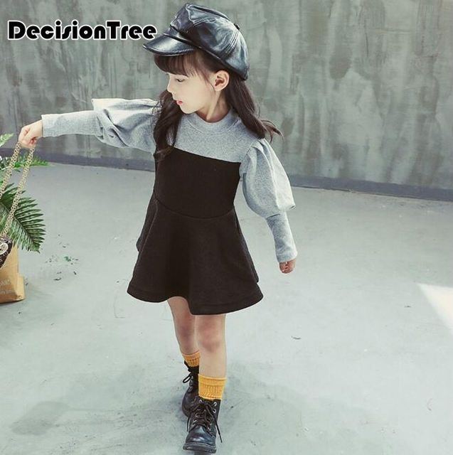 2019 new toddler baby girls kids A-line mini dresses long sleeve princess block color dress girls clothes children dresses