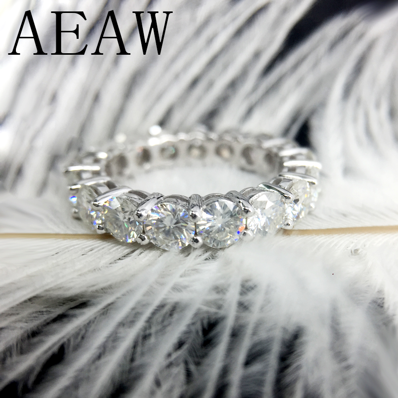 AEAW Solid 14K 585 White Gold Luxury 4mm 5ctw F Color Engagement Ring Wedding Moissanite Full