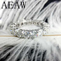 AEAW 固体 14 585 ホワイトゴールドの高級 4 ミリメートル 5ctw F 色婚約リング結婚モアッサナイトフル Enternity ダイヤモンドバンド女性のための