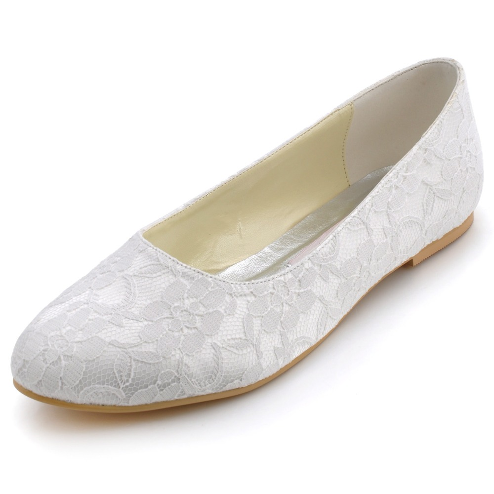 EP11106 Elegant White Ivory Women Shoes Bridal Party Flats Closed Round Toe Comfortable Satin Lace Lady Wedding Shoes fashion white lady peep toe shoes for wedding graduation party prom shoes elegant high heel lace flower bridal wedding shoes