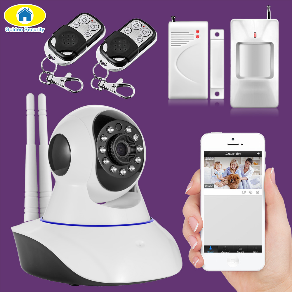 Golden Security 720P WIFI Pan/Tilt Network IP Camera APP Control Motion Detector Door/window Sensors Security Alarm system original orvibo smart security kit alarm detector zigbee intelligent hub motion door sensor wifi ip camera app remote control