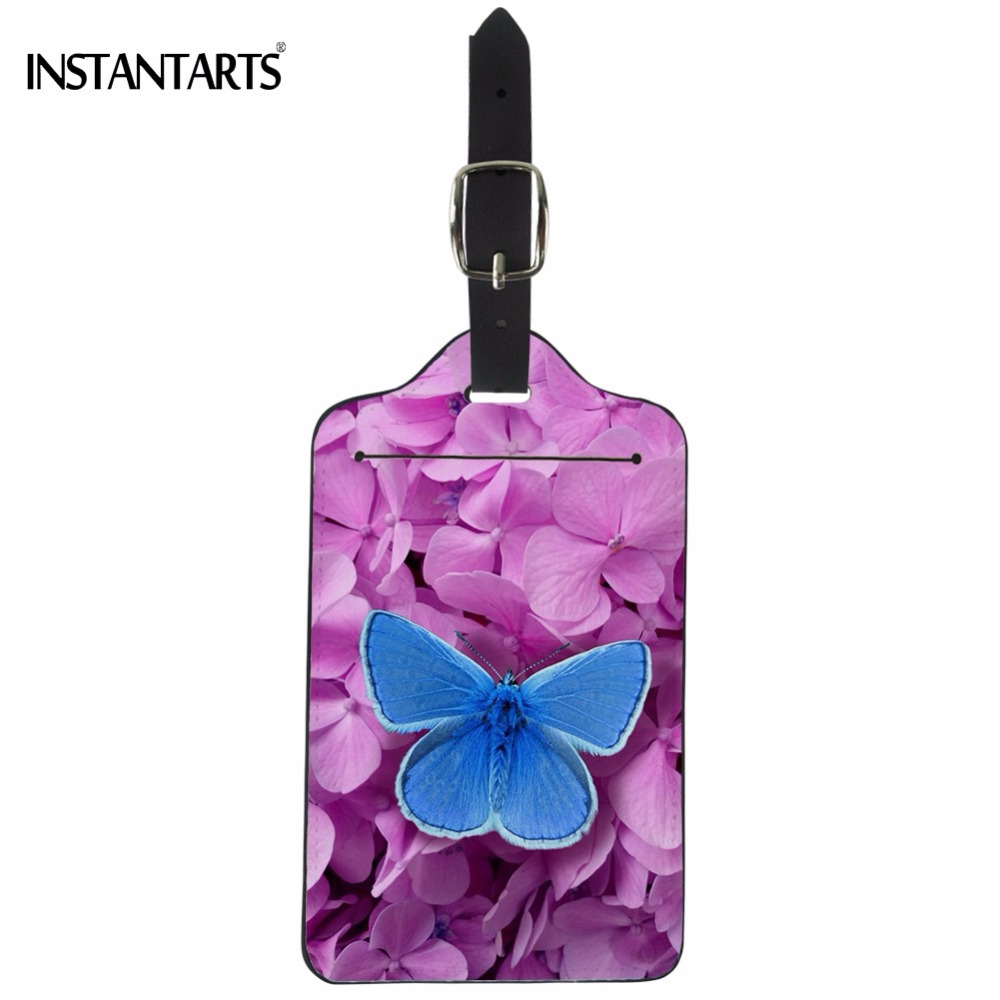 INSTANTARTS Pretty Butterfly Flower Print Luggage Tags Fashion Travel Accessories PU Leather Boarding Tag Baggage Portable Label