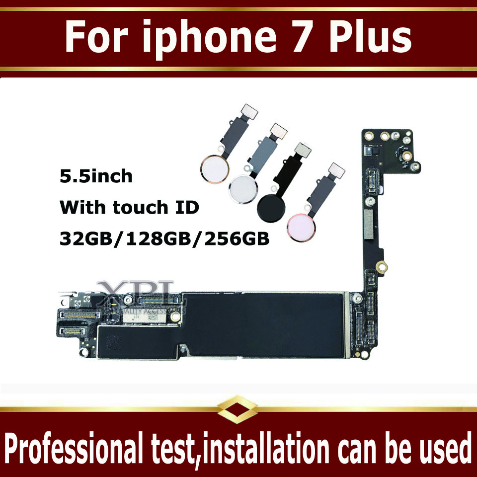 For iphone 7 Plus Motherboard with Touch ID,Original unlocked for iphone 7Plus Mainboard No iCloud,for iphone 7P Plate 1