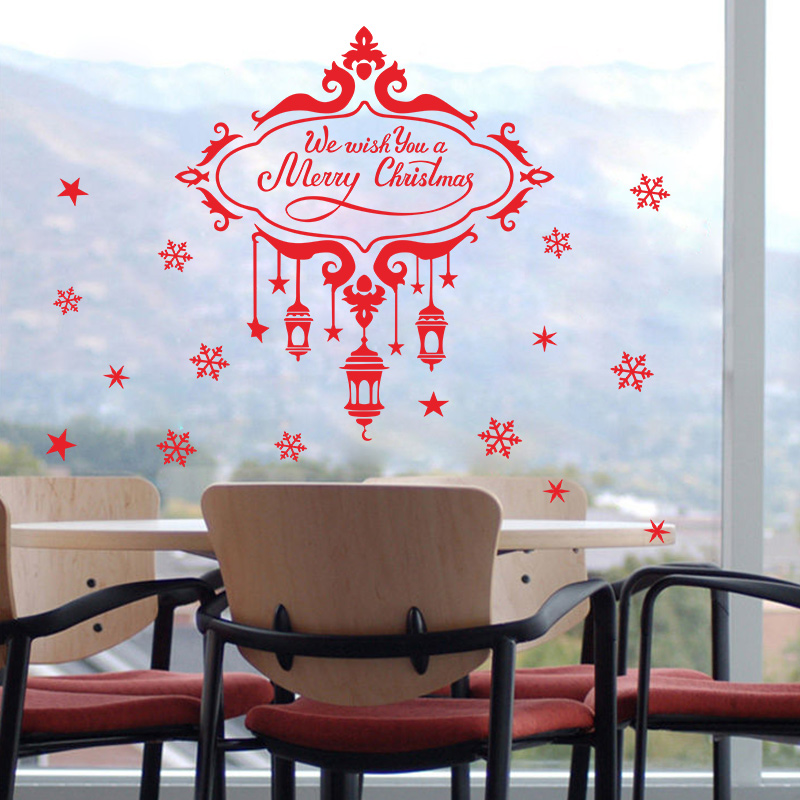 2017 Christmas Snowflake Star Decoration Wall Sticker