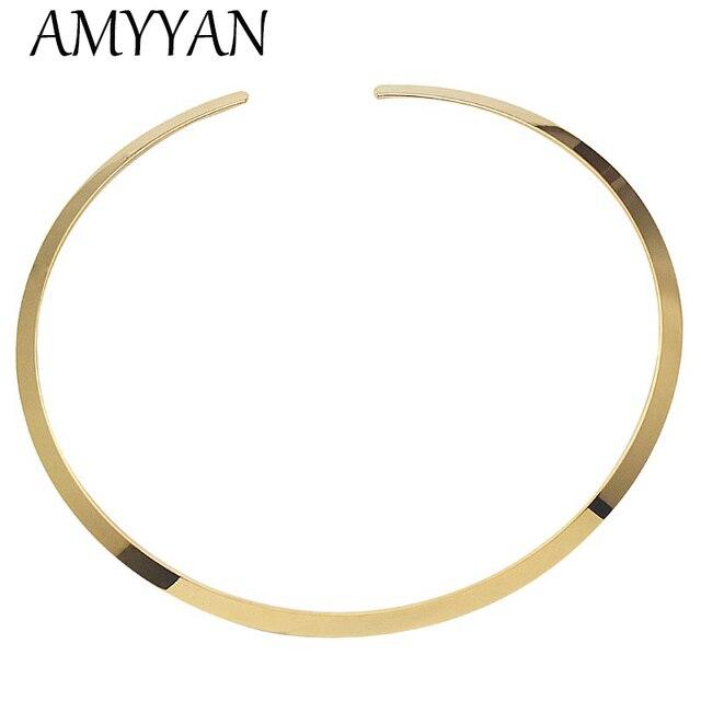 Europäischen stil gold farbe draht halskette edelstahl einfache ...