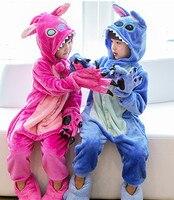 Tier Blau/rosa lilo Stich Pyjamas kinder Unisex Onesie Flanell Einem Stück Nachtwäsche Overalls Halloween geschenk