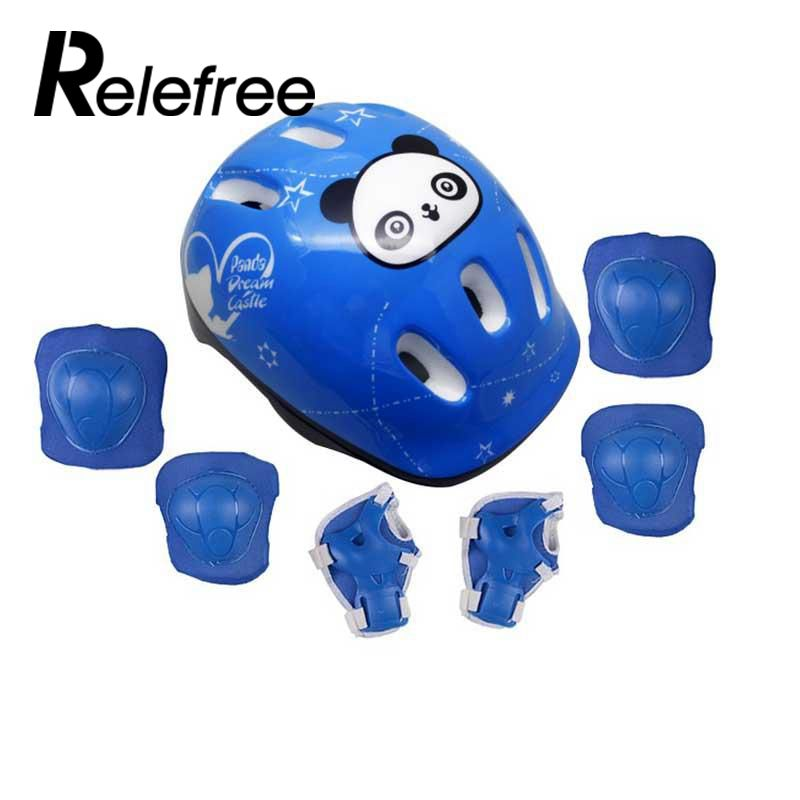 relefree 7 pcs/set Skating Protective Gear Sets Elbow pads Bicycle Skateboard Ice Skating Roller Knee Protector For Kids