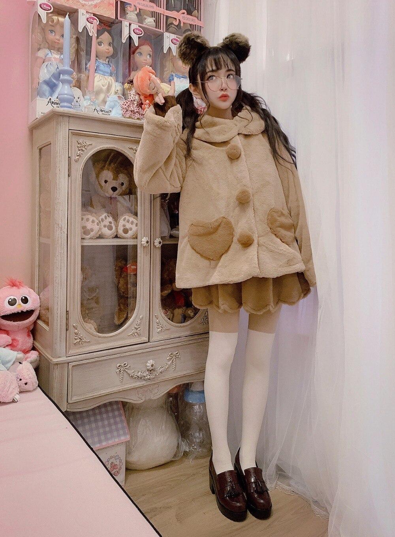 Douce Lolita À Doux L'usure Couture Sœur En Résistant Marron De Jupes Peluche Princesse Pétales Japonais Mode Papillon Femmes Jupe B1717 zqMSVUp