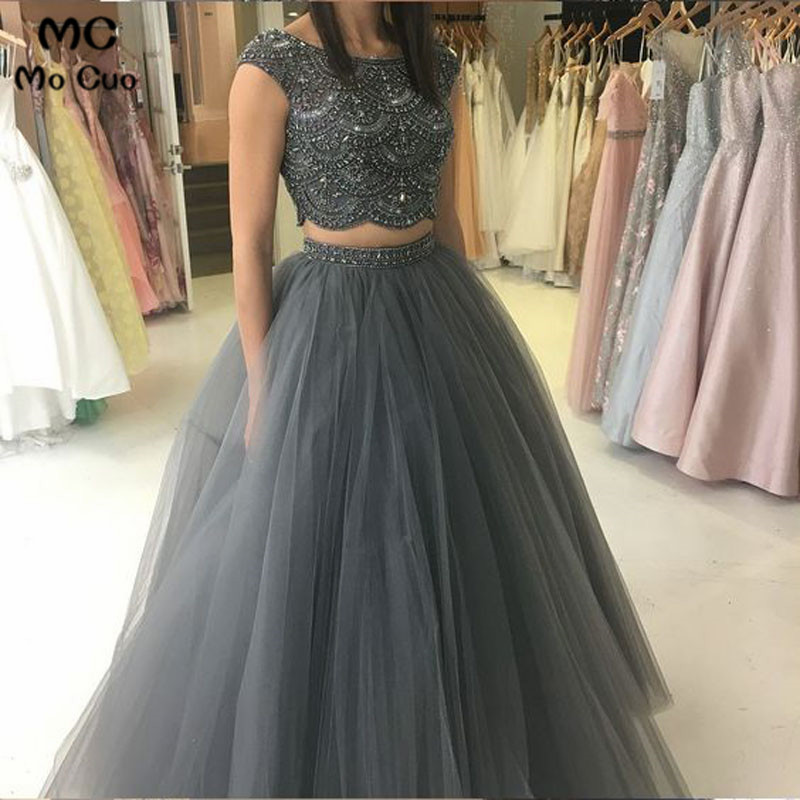 2019 Two Pieces Gown   Evening     Dresses   Long with Crystals Floor Length Tulle Backless Formal   Evening   Party   Dress   Custom Made