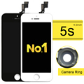 100% tested for iPhone 5S 5G 5C LCD Display + Touch Screen Glass with Frame Complete Replacement Assembly+camera ring