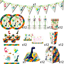 Party supplies 110pcs for 12kids 2019 New Dinosaur birthday party decoration tableware set, plate+cup+straw+flag+tablecover