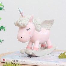 Creative Lovely Cartoon Resin Craft Animal Unicorn Micro Landscape Ornament Miniature Figurine Desktop Home Garden Decor Gifts