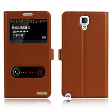 Luxury Natural Genuine Leather Window Flip Stand Cover Case For Samsung Galaxy Note 3 Lite NEO N7505 N7506V Luxury Mobile Phone