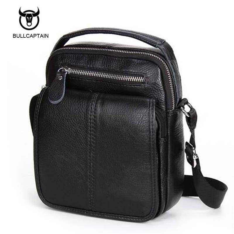 Bullcaptain Genuine Leather Bags Men High Quality Messenger Bags Small Travel Dark Brown Black Crossbody Shoulder Bag For Men xi yuan 2017 genuine leather bags men high quality messenger bags small travel dark brown crossbody shoulder bag for men gifts