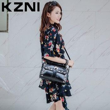 KZNI Women Leather Handbags Shoulder Bags Top-handle Tote Ladies Bags Fashion Handbags 2017 Bolsas Femininas 1180