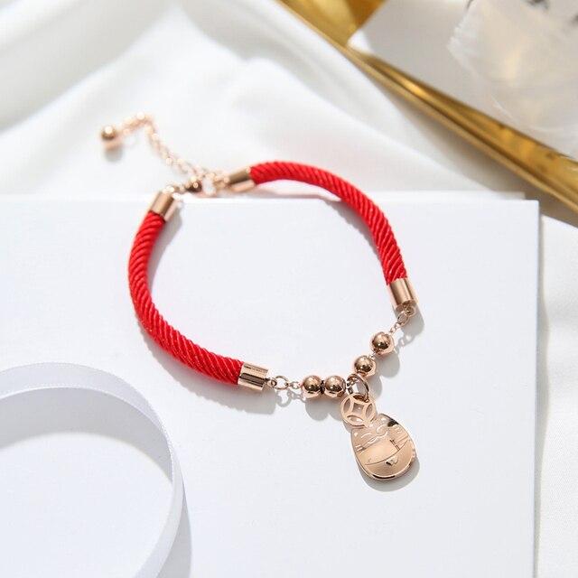 40cc84033640 Yun ruo 2018 nueva llegada Lucky CAT dinero rojo pulsera moda mujer  elegante regalo Rosa oro