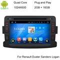 Quad Core Android Puro 5.1.1 Navegador GPS DVD Del Coche de Radio Para Renault Duster Logan Dacia Sandero Central Reproductor de Casetes