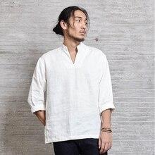 Herren Freizeithemd Grundlegende 100% Leinen Chinesisch Japanisch Traditionellen Stil Kung Fu Hanfu Tai Chi Zen Mandarin Weiß Herbst Nakali