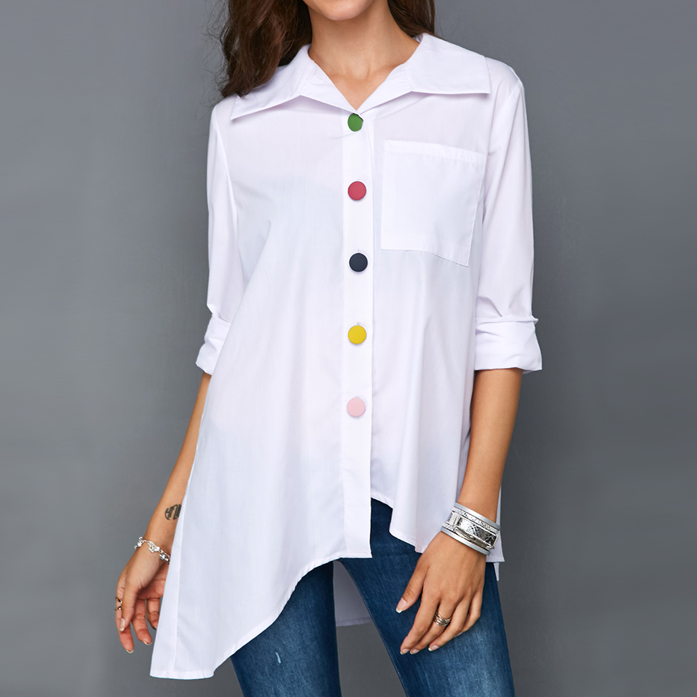 Plus Size 5XL White Female Tunic Cotton Solid Pocket Shirts Colorful Button Irregular Long SLeeve Womens Tops And Blouses