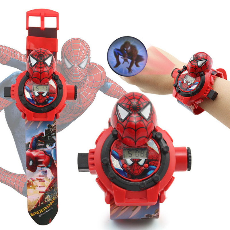 Spiderman Hello Kitty Ironman Captain America Electronic Projection Students Kids Watch Table Children Watch