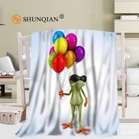 Custom frog Travel Blanket Home TV Casual Relax for Family Soft Fluffy Warm Blanket