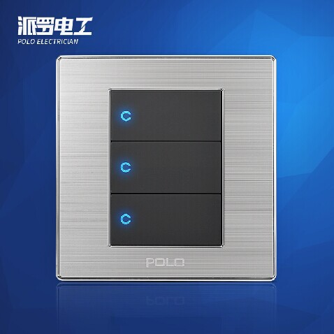Free Shipping, POLO Luxury Wall Light Switch Panel, 3 Gang 2 Way, Champagne/Black, Push Button LED Switch, 16A, 110~250V, 220V uk standard luxury gold switch panel wall switch 110 250v 16a push button switch and 4 gang 2 way light switch