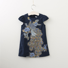 Sisters Dresses Family Clothes Peacock Embroidery Dress Short Sleeve Family Girls Clothing Dress Wihte and Blue