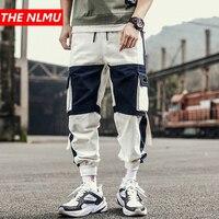 Color Block Patchwork Joggers Cargo Pants Men 2019 Autumn Hip Hop Track Pants Male Fashion Streetwear Trousers Sweatpant WG330