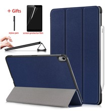 Ultar Thin Case For New ipad pro 11 2018 Tablet Trifold PU Leather Smart Cover Case For ipad pro 11 inch Case Stand +Stylus Film