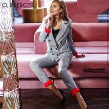 Korea Style Casual Plaid Women Pant Suits Notched Collar Blazer Jacket And Pencil Pant Elegant Gray Female Suit Set