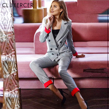 Korea Style Casual Plaid Women Pant Suits Notched Collar Blazer Jacket And Penci