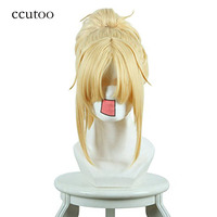 ccutoo 40cm Blonde Short Straight Synthetic Wig With Chip Ponytail Heat Resistance Cosplay Wig Fate/Apocrypha Mordred