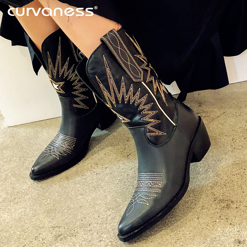 Curvaness White Beige Black Genuine Leather Cowboy Boots for Women Med Heel Boots Western Cowgirl Boots 2019 Autumn Winter