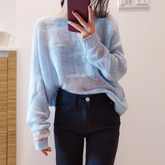 Light Cashmere Sweater Women Oversized Long Sleeve Knitted Sweater Loose  Hollow Out Mohair Sweater Female Pullovers Pull Femme -in Pullovers from  Women s ... 2877e49bf