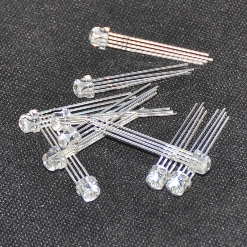 100PCS LED 5MM 2 Pin Straw Hat White LED Light Emitting Diode Lamp Long Feet NEW