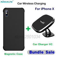 NILLKIN Car Magnetic Wireless Charger for iPhone X Car-Charger Wireless Charging Car Phone Holder + Magnetic Case for iPhone X
